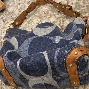 Coach denim logo purse.